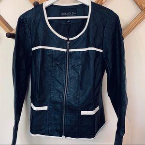 Forever 21 Plus Black Faux Leather Jacket XL